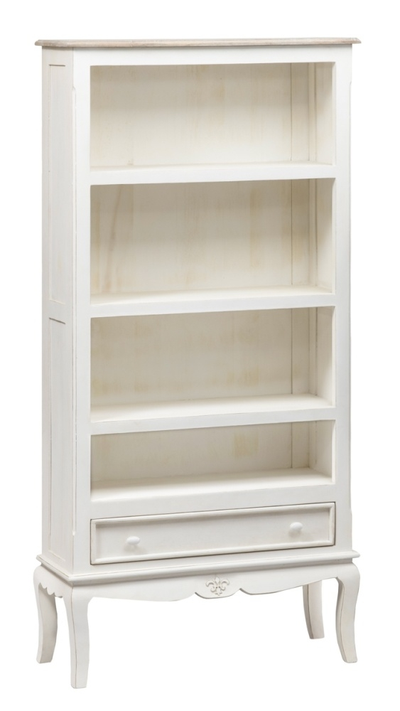 Urban Deco Fleur French Style Distressed Painted Wide Bookcase