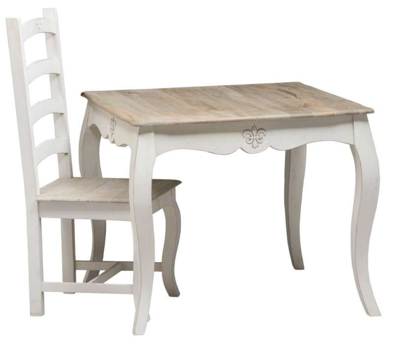 Urban Deco Fleur French Style Distressed Painted 90cm Square Dining Table and 4 Chairs