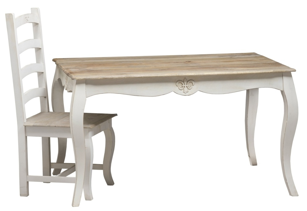 Urban Deco Fleur French Style Distressed Painted 135cm Dining Table and 6 Chairs