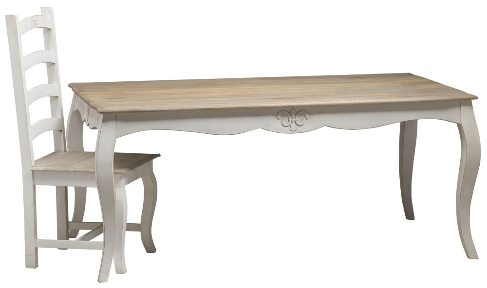 Urban Deco Fleur French Style Distressed Painted 175cm Large Dining Table and 8 Chairs
