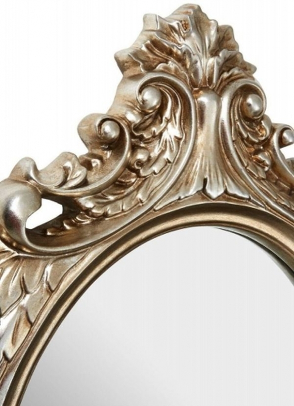 Clearance - Champagne Garlanded Oval Wall Mirror - 60cm x 84cm - New - E-427
