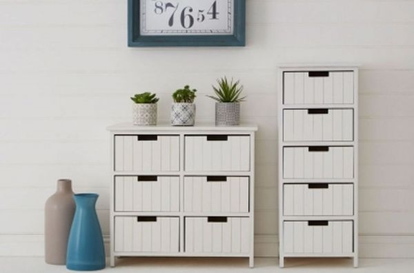 Clearance - New England White 5 Drawer Chest - New - E-418