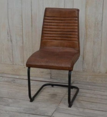 Clearance - Brushed Buffalo Leather Dining Chair with Metal Frame (Pair) - New - E-413