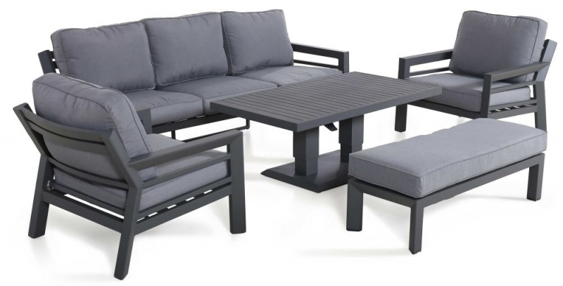 Maze Rattan New York 3 Seat Sofa Set with Rising Table