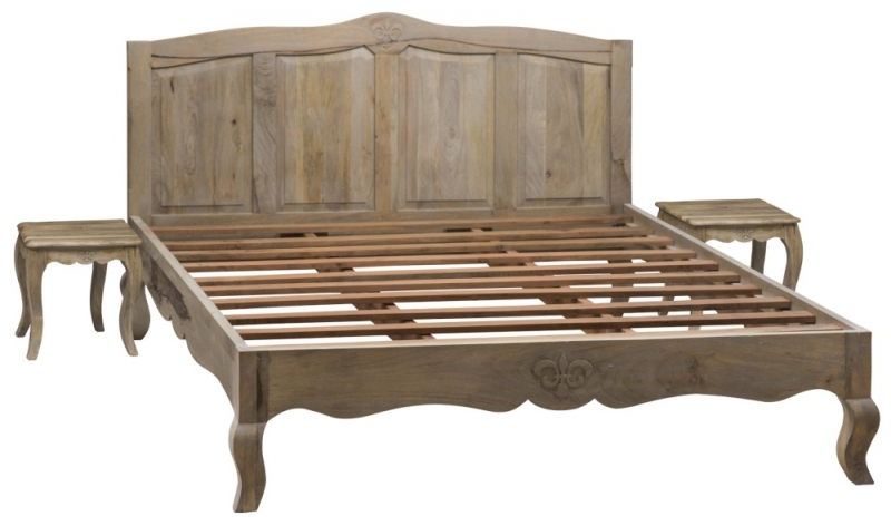Urban Deco Fleur French Style Rustic Mango Wood Grey 4ft 6in Double Bed