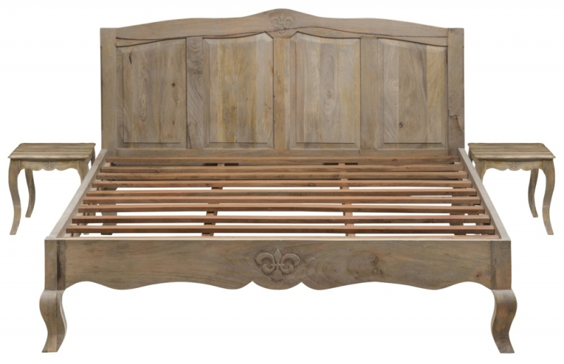 Urban Deco Fleur French Style Rustic Mango Wood Grey 5ft King Size Bed