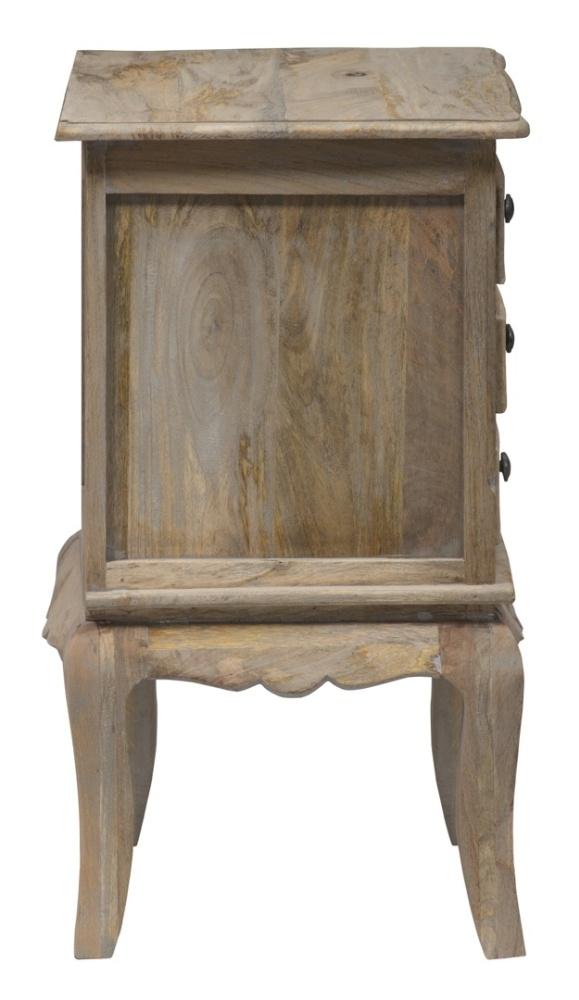 Urban Deco Fleur French Style Rustic Mango Wood Grey 3 Drawer Bedside Cabinet