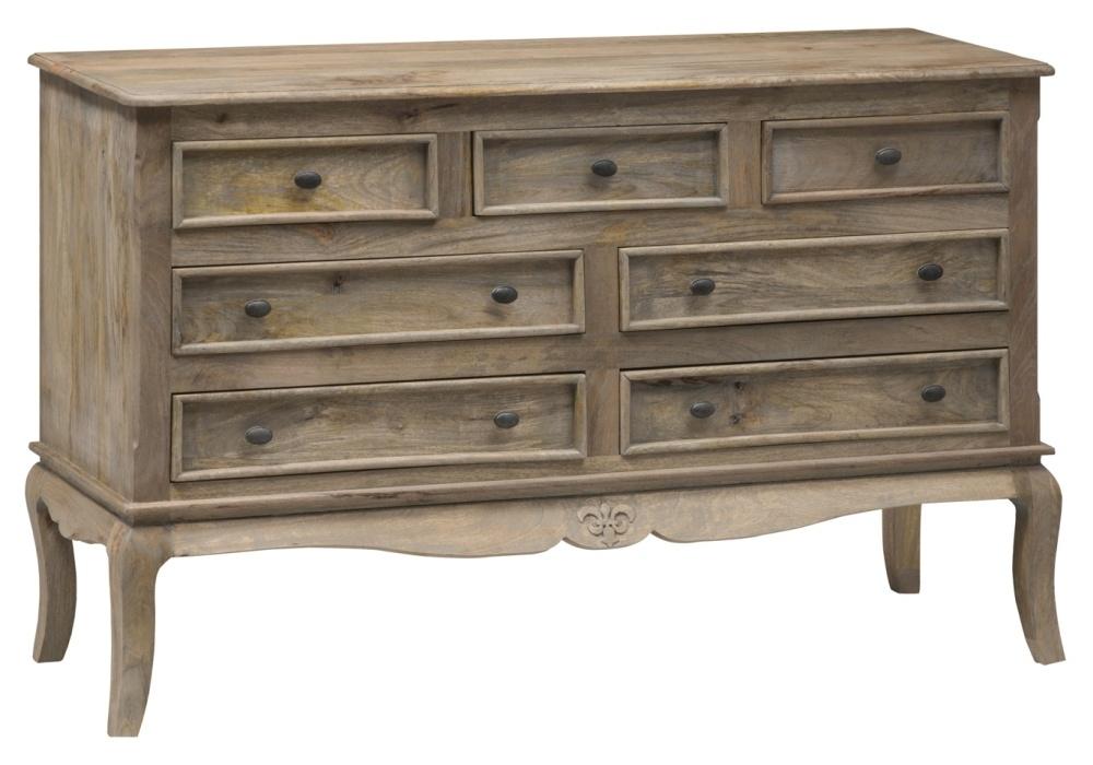Urban Deco Fleur French Style Rustic Mango Wood Grey 7 Drawer Wide Chest
