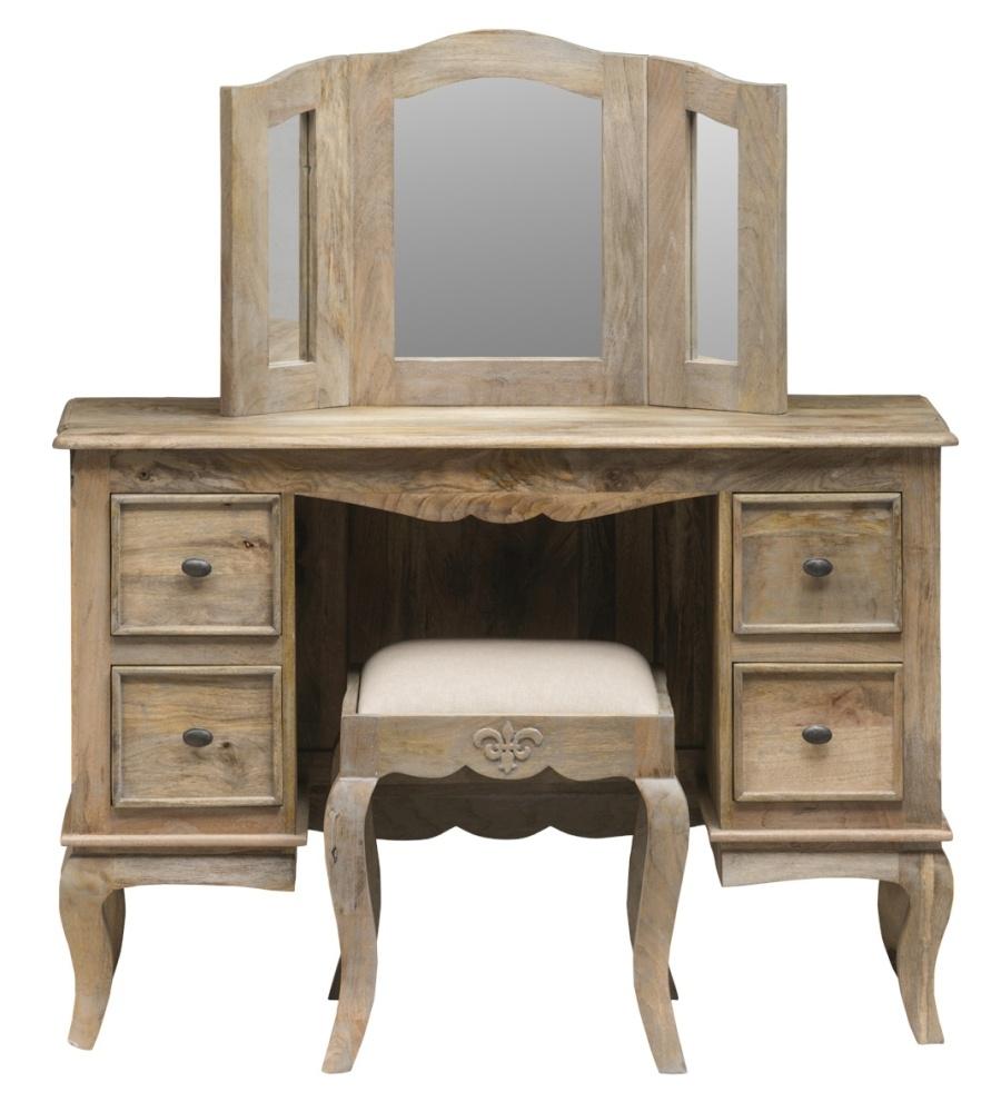 Urban Deco Fleur French Style Rustic Mango Wood Grey Dressing Mirror