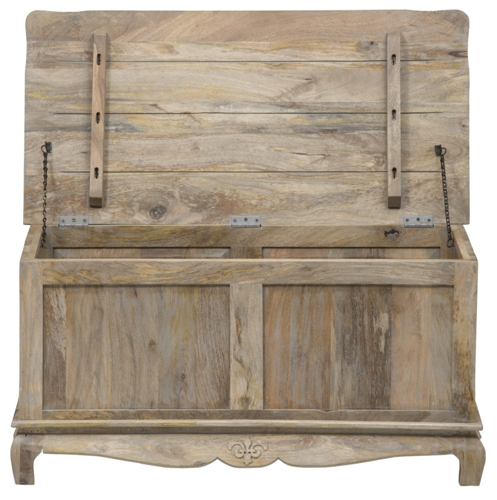 Urban Deco Fleur French Style Rustic Mango Wood Grey Blanket Box