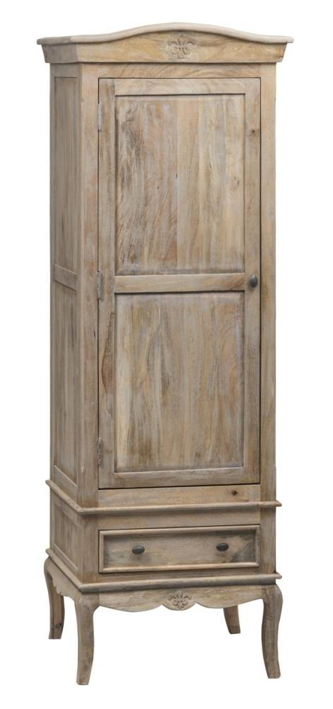 Urban Deco Fleur French Style Rustic Mango Wood Grey 1 Door Wardrobe