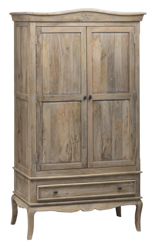 Urban Deco Fleur French Style Rustic Mango Wood Grey 2 Door Double Wardrobe