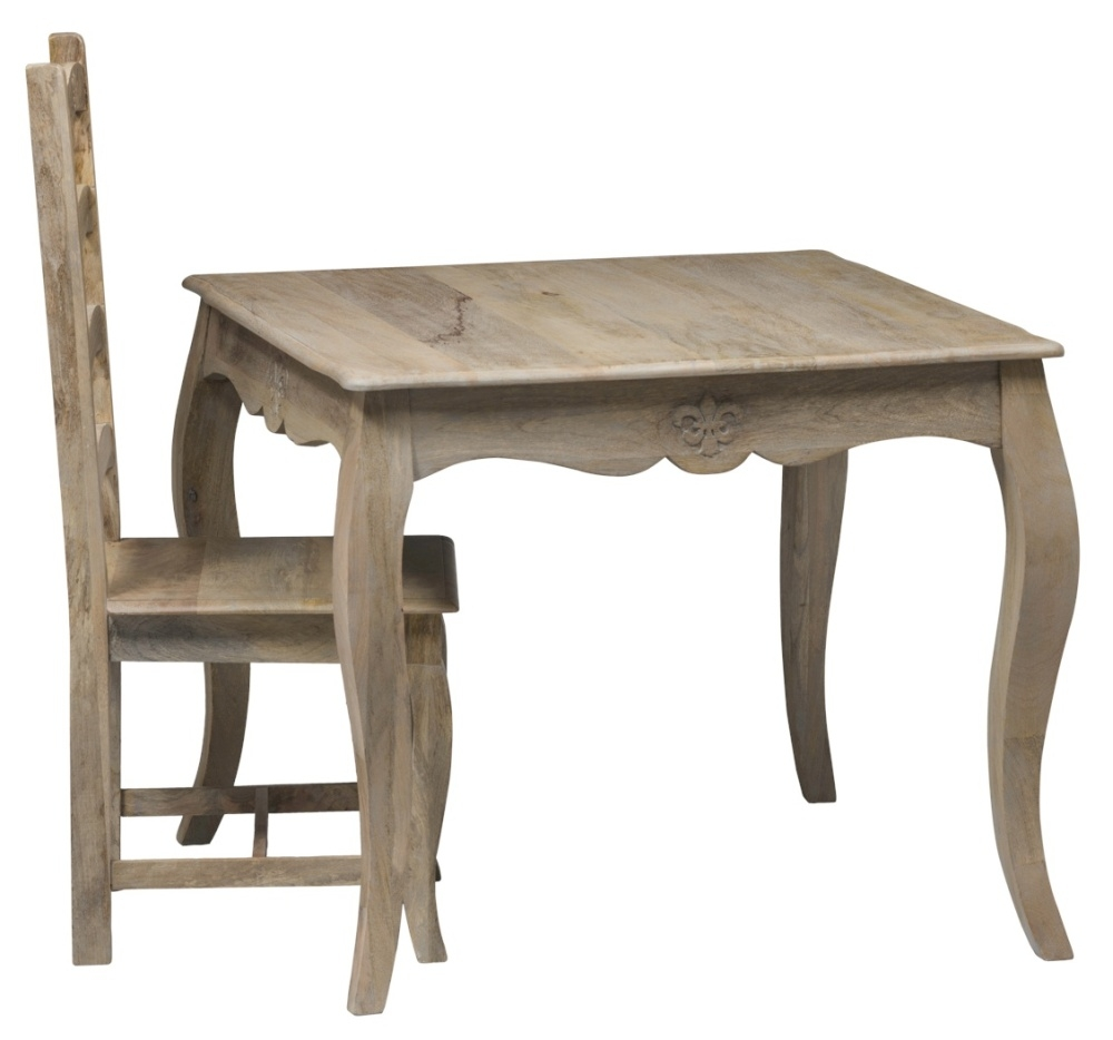 Urban Deco Fleur French Style Rustic Mango Wood Grey 90cm Square Dining Table