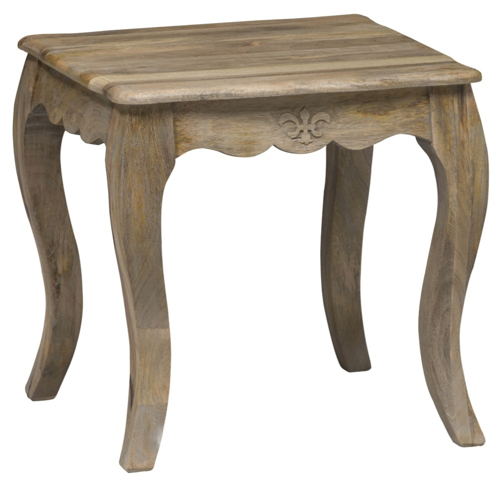 Urban Deco Fleur French Style Rustic Mango Wood Grey Lamp Table