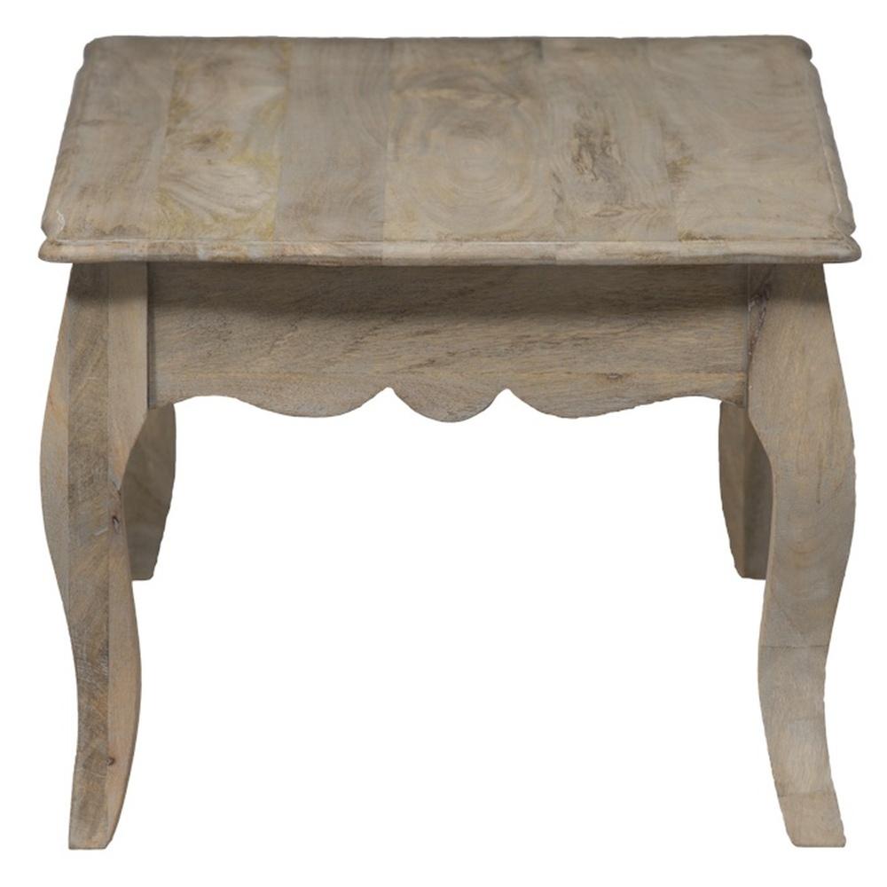 Urban Deco Fleur French Style Rustic Mango Wood Grey Coffee Table