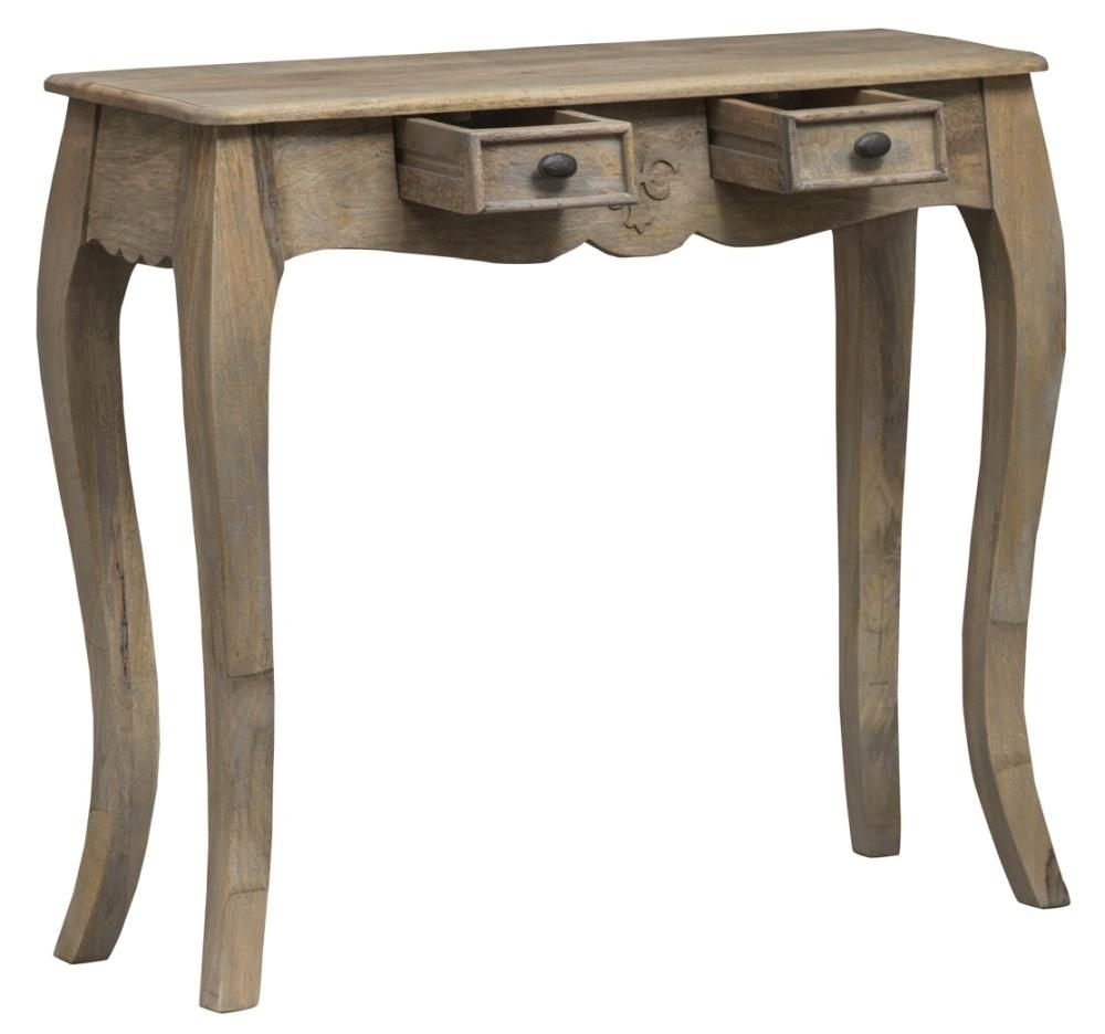 Urban Deco Fleur French Style Rustic Mango Wood Grey Console Table/ Desk