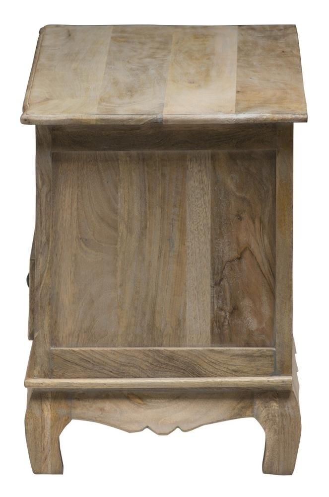 Urban Deco Fleur French Style Rustic Mango Wood Grey Corner TV Cabinet