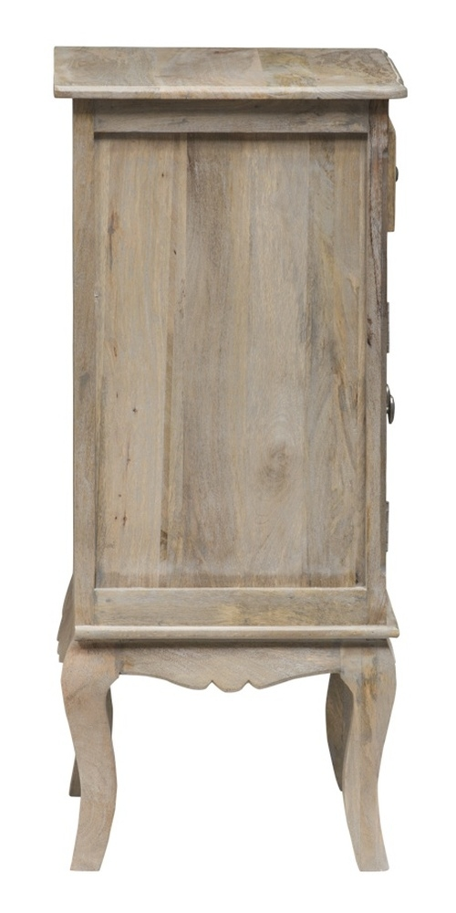 Urban Deco Fleur French Style Rustic Mango Wood Grey Hall Cabinet