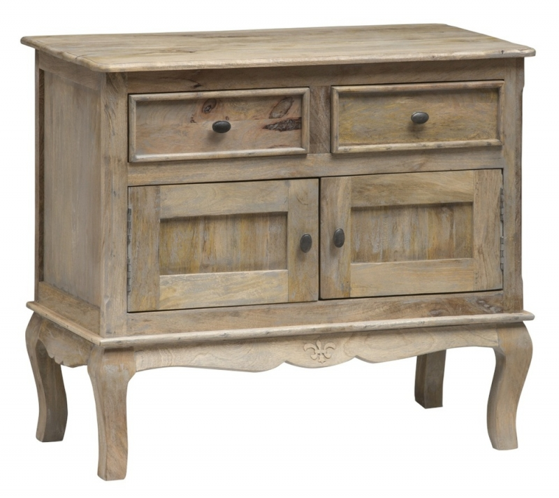 Urban Deco Fleur French Style Rustic Mango Wood Grey 2 Door Sideboard
