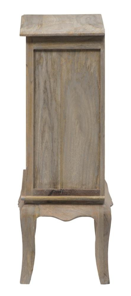 Urban Deco Fleur French Style Rustic Mango Wood Grey Small Bookcase