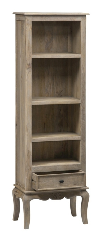 Urban Deco Fleur French Style Rustic Mango Wood Grey Slim Bookcase