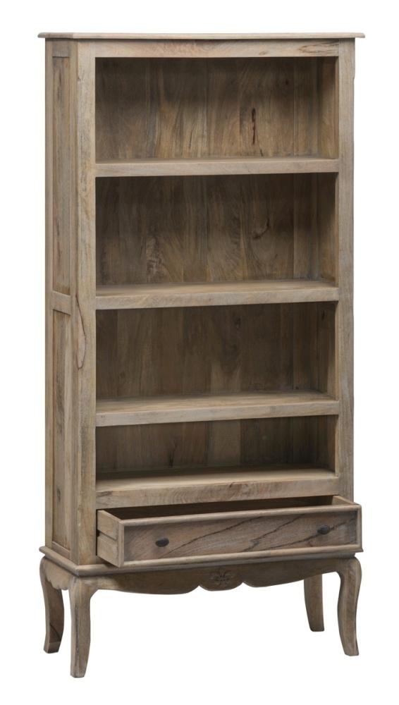 Urban Deco Fleur French Style Rustic Mango Wood Grey Wide Bookcase