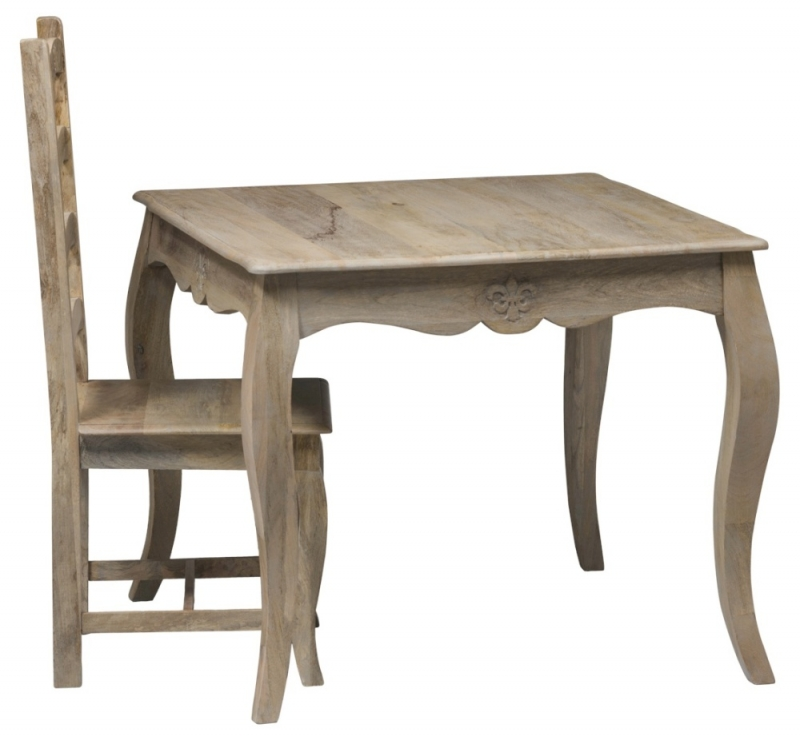 Urban Deco Fleur French Style Rustic Mango Wood Grey 90cm Square Dining Table and 4 Chairs