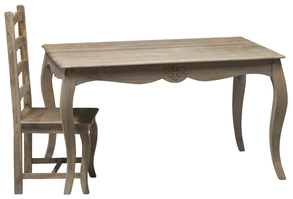 Urban Deco Fleur French Style Rustic Mango Wood Grey 135cm Dining Table and 6 Chairs
