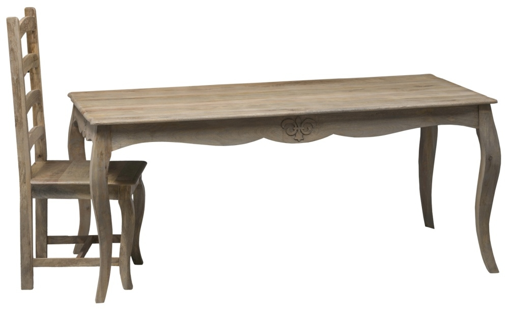 Urban Deco Fleur French Style Rustic Mango Wood Grey 175cm Dining Table and 8 Chairs