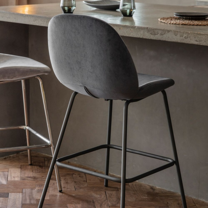 Gallery Flanagan Dark Grey Velvet Barstool (Pair)