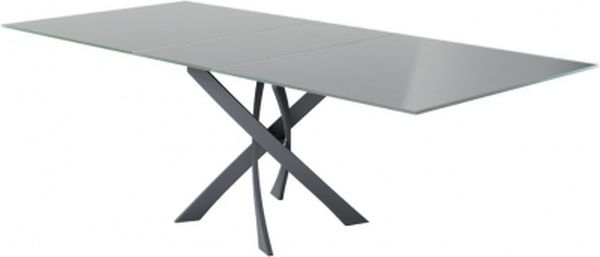 Clearance - Sirocco Grey Glass Top Swivel Extending Dining Table - New - FS1122