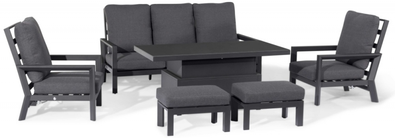 Maze Rattan Manhattan Reclining 3 Seat Sofa Set with Rising Table and Footstools