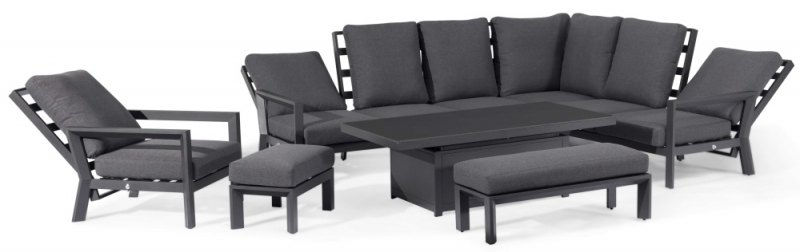 Maze Rattan Manhattan Reclining Corner Dining Set with Rising Table and Armchair