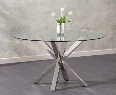 Clearance - Mark Harris Round Dining Table - Glass and Chrome - New - FS1170