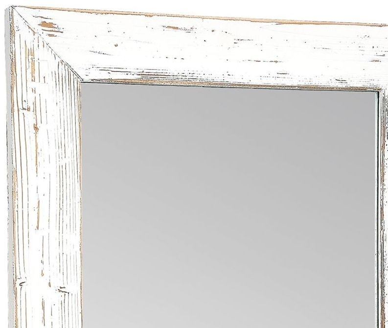 Clearance - Rowico Purbeck Distressed White Wall Mirror - 70cm x 140cm - New - FS1033