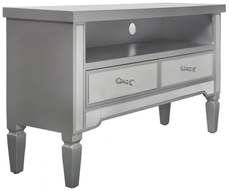 Clearance - Mergo Mirrored Silver Trim Entertainment Unit - New - FS1197