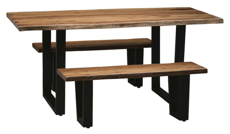 Urban Deco Live Edge Solid Acacia Wood 160cm Dining Table - Light
