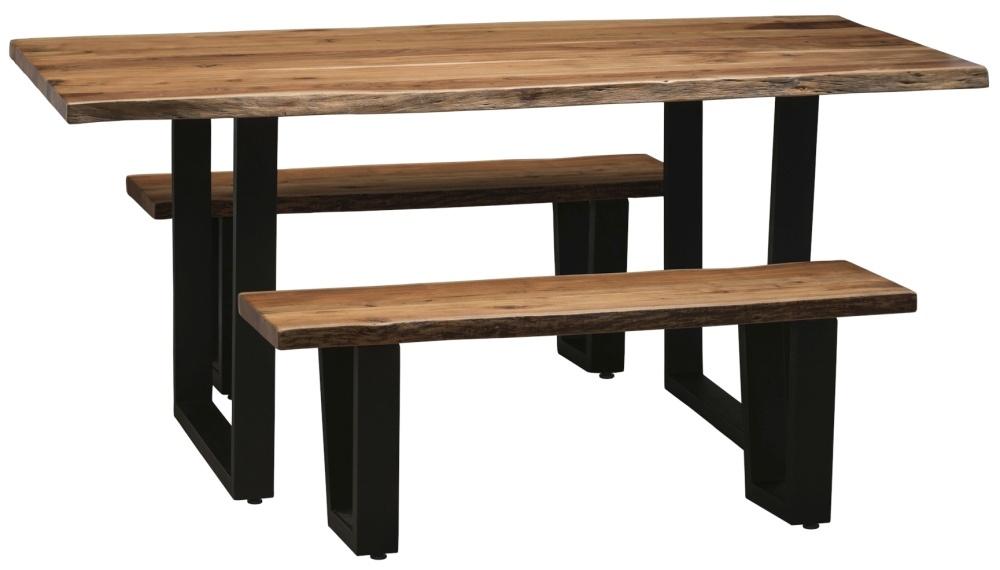 Urban Deco Live Edge Solid Acacia Wood 120cm Bench - Light