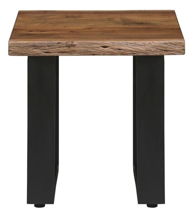 Urban Deco Live Edge Solid Acacia Wood Side Table - Light