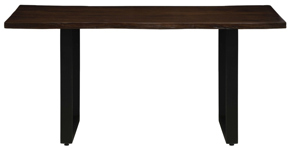 Urban Deco Live Edge Solid Acacia Wood 220cm Dining Table - Dark