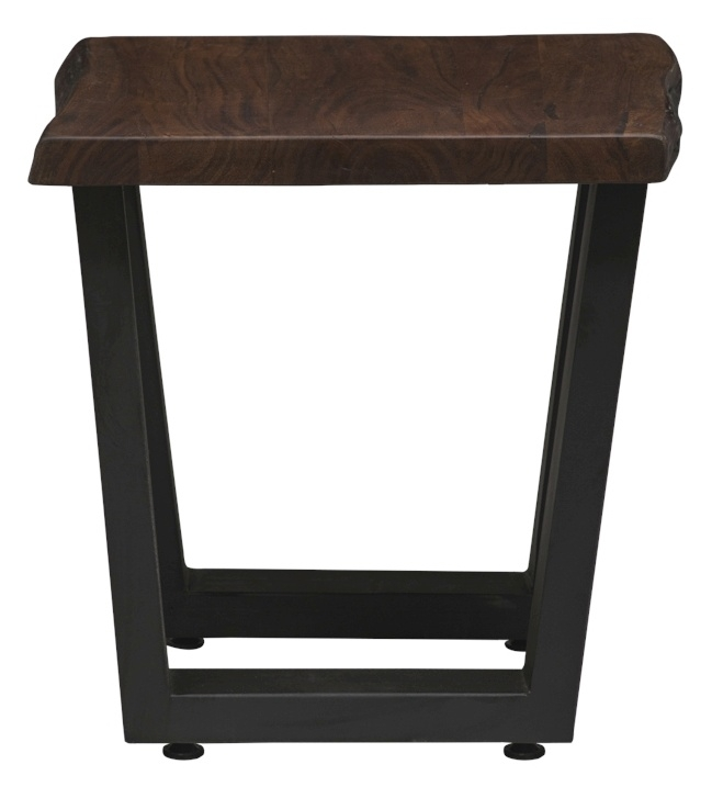 Urban Deco Live Edge Solid Acacia Wood Side Table - Dark