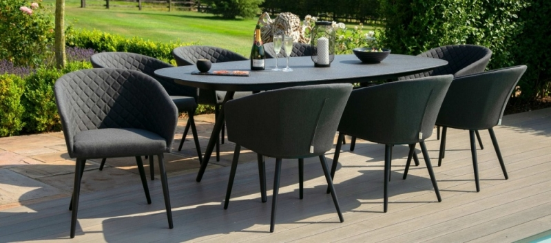 Maze Lounge Outdoor Ambition Charcoal Fabric 8 Seat Oval Dining Set
