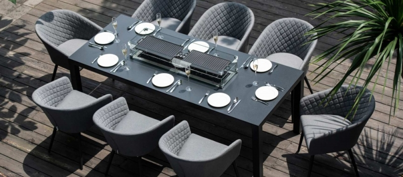 Maze Lounge Outdoor Ambition Flanelle Fabric 8 Seat Rectangular Dining Set with Fire Pit Table