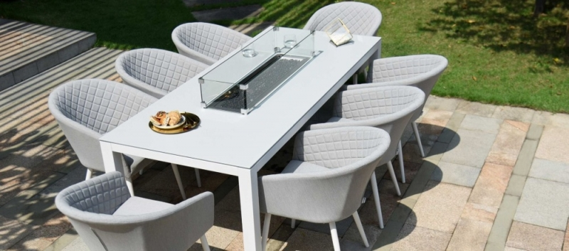 Maze Lounge Outdoor Ambition Lead Chine Fabric 8 Seat Rectangular Dining Set with Fire Pit Table