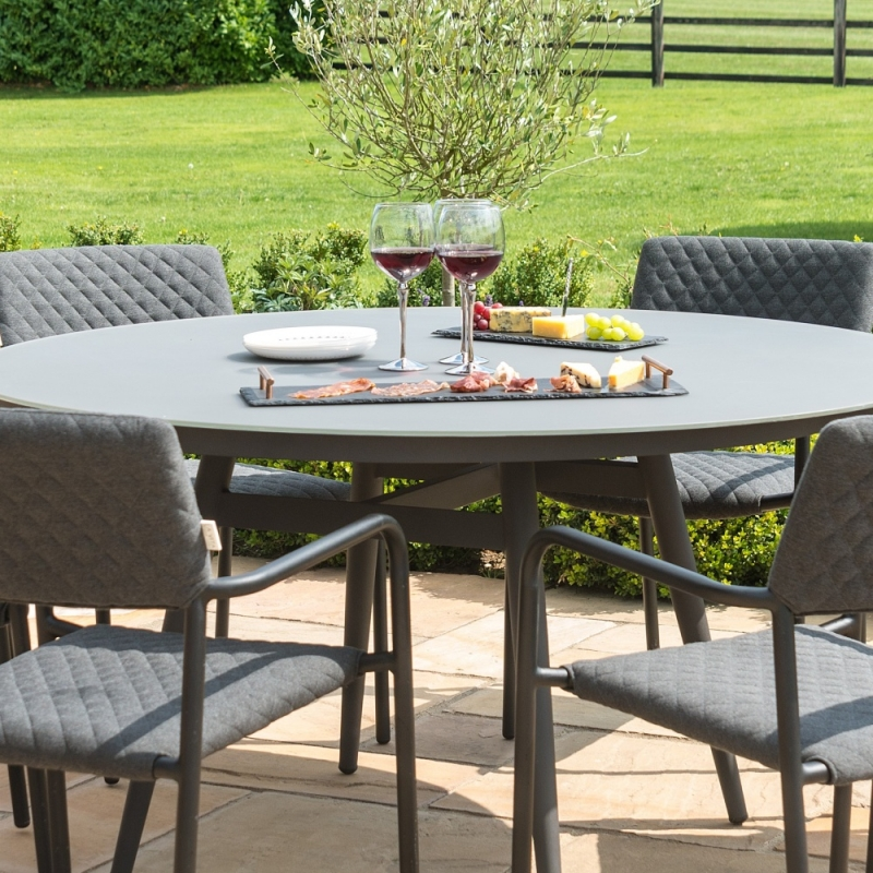 Maze Lounge Outdoor Bliss Charcoal Fabric 6 Seat Round Dining Set
