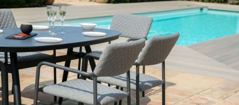 Maze Lounge Outdoor Bliss Flanelle Fabric 6 Seat Oval Dining Set
