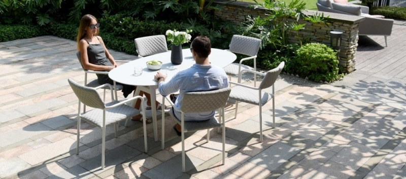 Maze Lounge Outdoor Bliss Lead Chine Fabric 6 Seat Oval Dining Set