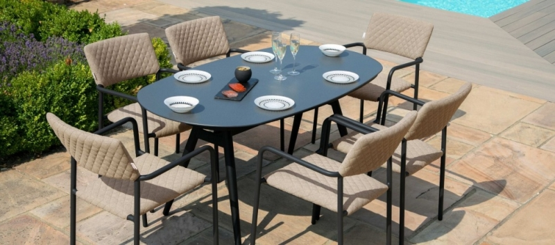 Maze Lounge Outdoor Bliss Taupe Fabric 6 Seat Oval Dining Set