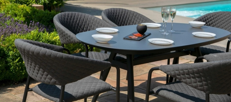 Maze Lounge Outdoor Pebble Charcoal Fabric 6 Seat Oval Dining Set