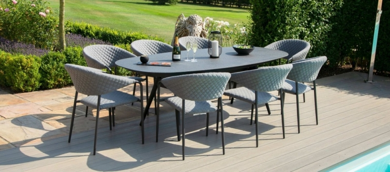 Maze Lounge Outdoor Pebble Flanelle Fabric 8 Seat Oval Dining Set